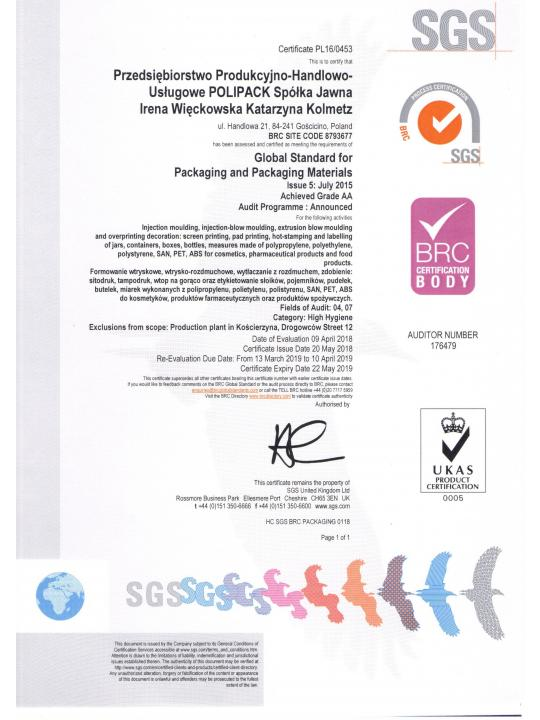 Certyfikat BRC Global Standard for Packaging and Packaging Materials, wydanie 5